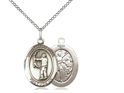 "Sterling Silver St. Sebastian / Archery Pendant, Sterling Silver Lite Curb Chain, Medium Size Catholic Medal, 3/4"" x 1/2"""
