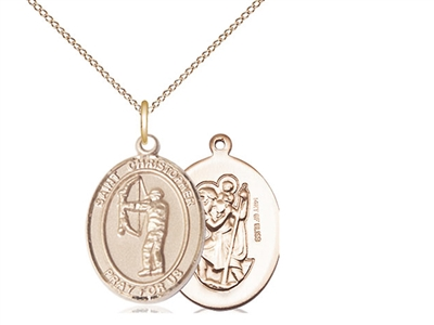 "Gold Filled St. Christopher/Archery Pendant, GF Lite Curb Chain, Medium Size Catholic Medal, 3/4"" x 1/2"""