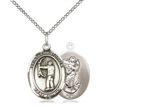 "Sterling Silver St. Christopher/Archery Pendant, Sterling Silver Lite Curb Chain, Medium Size Catholic Medal, 3/4"" x 1/2"""