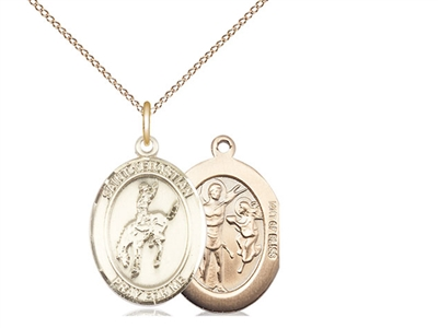 "Gold Filled St. Sebastian / Rodeo Pendant, GF Lite Curb Chain, Medium Size Catholic Medal, 3/4"" x 1/2"""