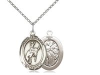 "Sterling Silver St. Sebastian / Rodeo Pendant, Sterling Silver Lite Curb Chain, Medium Size Catholic Medal, 3/4"" x 1/2"""