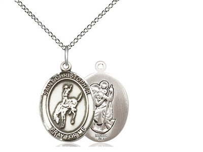 "Sterling Silver St. Christopher / Rodeo Pendant, Sterling Silver Lite Curb Chain, Medium Size Catholic Medal, 3/4"" x 1/2"""