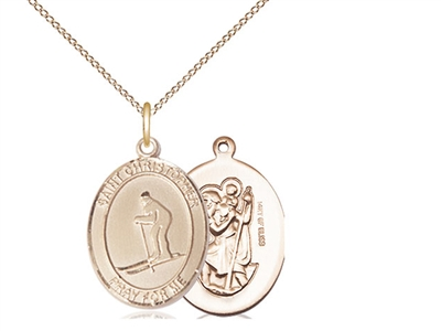 "Gold Filled St. Christopher / Skiing Pendant, GF Lite Curb Chain, Medium Size Catholic Medal, 3/4"" x 1/2"""