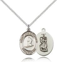"Sterling Silver St. Christopher / Skiing Pendant, Sterling Silver Lite Curb Chain, Medium Size Catholic Medal, 3/4"" x 1/2"""
