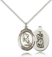 "Sterling Silver St. Christopher / Rugby Pendant, Sterling Silver Lite Curb Chain, Medium Size Catholic Medal, 3/4"" x 1/2"""