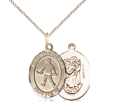 "Gold Filled St. Christopher / Field Hockey Pendant, GF Lite Curb Chain, Medium Size Catholic Medal, 3/4"" x 1/2"""