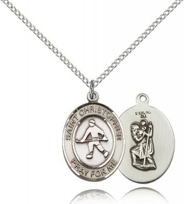 "Sterling Silver St. Christopher / Field Hockey Pen, Sterling Silver Lite Curb Chain, Medium Size Catholic Medal, 3/4"" x 1/2"""