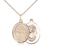"Gold Filled St. Christopher / Fishing Pendant, GF Lite Curb Chain, Medium Size Catholic Medal, 3/4"" x 1/2"""