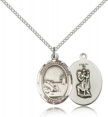 "Sterling Silver St. Christopher / Fishing Pendant, Sterling Silver Lite Curb Chain, Medium Size Catholic Medal, 3/4"" x 1/2"""