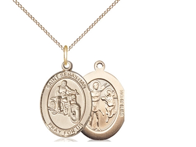 "Gold Filled St. Sebastian / Motorcycle Pendant, GF Lite Curb Chain, Medium Size Catholic Medal, 3/4"" x 1/2"""