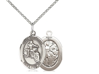 "Sterling Silver St. Sebastian / Motorcycle Pendant, SS Lite Curb Chain, Medium Size Catholic Medal, 3/4"" x 1/2"""