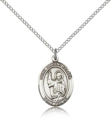 "Sterling Silver St. Vincent Ferrer Pendant, Sterling Silver Lite Curb Chain, Medium Size Catholic Medal, 3/4"" x 1/2"""