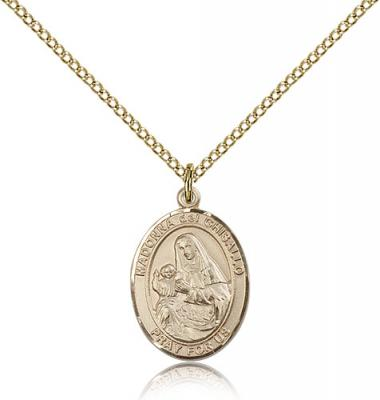 "Gold Filled St. Madonna Del Ghisallo Pendant, Gold Filled Lite Curb Chain, Medium Size Catholic Medal, 3/4"" x 1/2"""