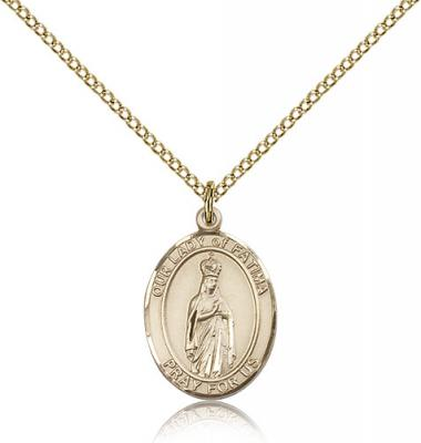 "Gold Filled Our Lady of Fatima Pendant, Gold Filled Lite Curb Chain, Medium Size Catholic Medal, 3/4"" x 1/2"""