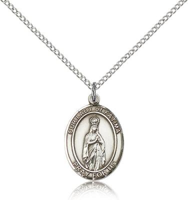 "Sterling Silver Our Lady of Fatima Pendant, Sterling Silver Lite Curb Chain, Medium Size Catholic Medal, 3/4"" x 1/2"""