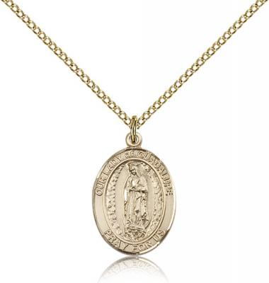"Gold Filled Our Lady of Guadalupe Pendant, Gold Filled Lite Curb Chain, Medium Size Catholic Medal, 3/4"" x 1/2"""