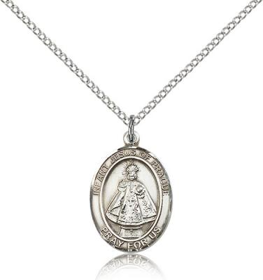 "Sterling Silver Infant of Prague Pendant, Sterling Silver Lite Curb Chain, Medium Size Catholic Medal, 3/4"" x 1/2"""