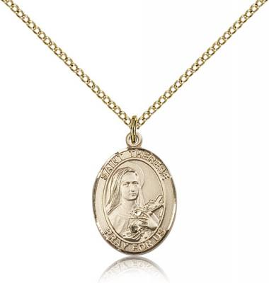 "Gold Filled St. Therese of Lisieux Pendant, Gold Filled Lite Curb Chain, Medium Size Catholic Medal, 3/4"" x 1/2"""