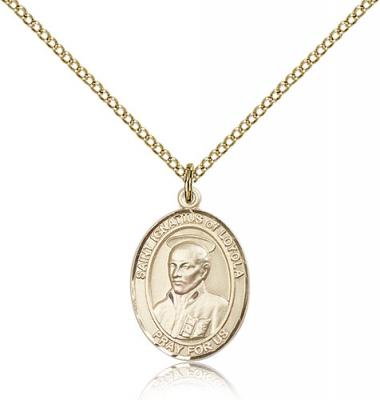 "Gold Filled St. Ignatius of Loyola Pendant, Gold Filled Lite Curb Chain, Medium Size Catholic Medal, 3/4"" x 1/2"""