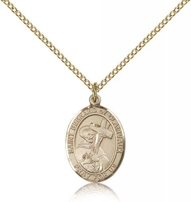 "Gold Filled St. Bernard of Clairvaux Pendant, Gold Filled Lite Curb Chain, Medium Size Catholic Medal, 3/4"" x 1/2"""