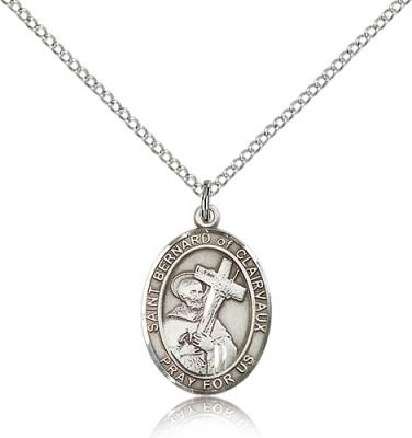 "Sterling Silver St. Bernard of Clairvaux Pendant, Sterling Silver Lite Curb Chain, Medium Size Catholic Medal, 3/4"" x 1/2"""
