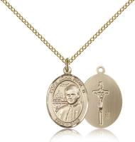 "Gold Filled Pope John Paul II Pendant, Gold Filled Lite Curb Chain, Medium Size Catholic Medal, 3/4"" x 1/2"""