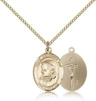 "Gold Filled Pope Benedict XVI Pendant, Gold Filled Lite Curb Chain, Medium Size Catholic Medal, 3/4"" x 1/2"""
