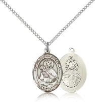 "Sterling Silver Our Lady of Mount Carmel Pendant, Sterling Silver Lite Curb Chain, Medium Size Catholic Medal, 3/4"" x 1/2"""