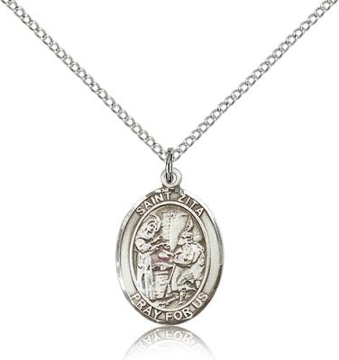 "Sterling Silver St. Zita Pendant, Sterling Silver Lite Curb Chain, Medium Size Catholic Medal, 3/4"" x 1/2"""