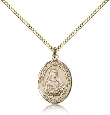 "Gold Filled Our Lady of the Railroad Pendant, Gold Filled Lite Curb Chain, Medium Size Catholic Medal, 3/4"" x 1/2"""