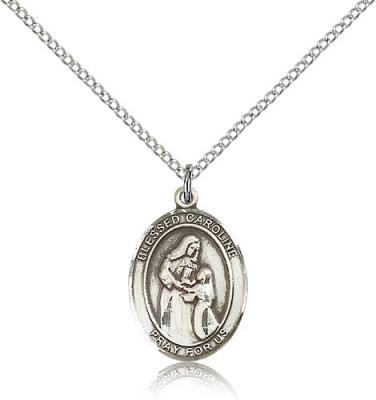 "Sterling Silver Blessed Caroline Gerhardinger Pend, Sterling Silver Lite Curb Chain, Medium Size Catholic Medal, 3/4"" x 1/2"""