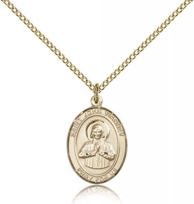 "Gold Filled St. John Vianney Pendant, Gold Filled Lite Curb Chain, Medium Size Catholic Medal, 3/4"" x 1/2"""