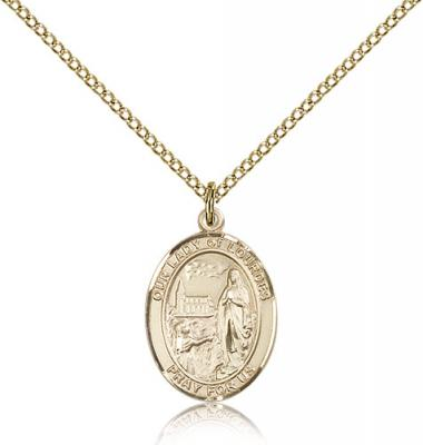"Gold Filled Our Lady of Lourdes Pendant, Gold Filled Lite Curb Chain, Medium Size Catholic Medal, 3/4"" x 1/2"""