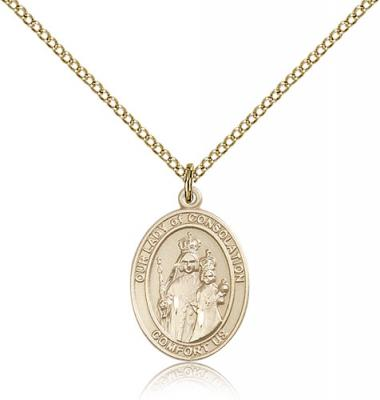 "Gold Filled Our Lady of Consolation Pendant, Gold Filled Lite Curb Chain, Medium Size Catholic Medal, 3/4"" x 1/2"""