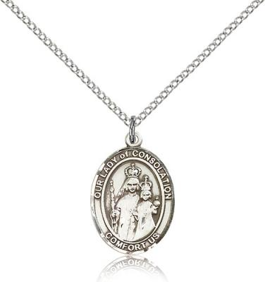 "Sterling Silver Our Lady of Consolation Pendant, Sterling Silver Lite Curb Chain, Medium Size Catholic Medal, 3/4"" x 1/2"""