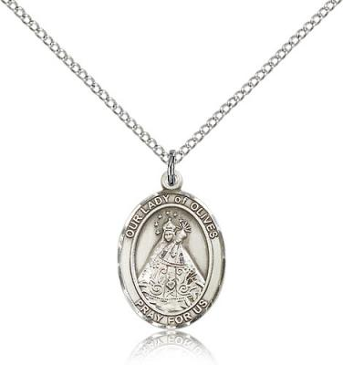 "Sterling Silver Our Lady of Olives Pendant, Sterling Silver Lite Curb Chain, Medium Size Catholic Medal, 3/4"" x 1/2"""
