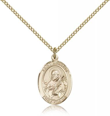 "Gold Filled St. Meinrad of Einsideln Pendant, Gold Filled Lite Curb Chain, Medium Size Catholic Medal, 3/4"" x 1/2"""