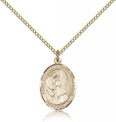 "Gold Filled St. Elizabeth of the Visitation Pendan, Gold Filled Lite Curb Chain, Medium Size Catholic Medal, 3/4"" x 1/2"""