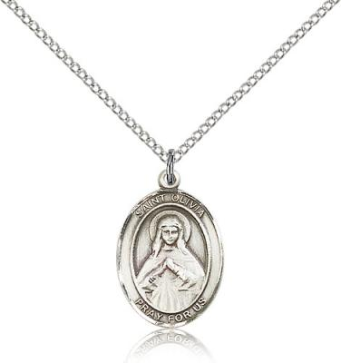 "Sterling Silver St. Olivia Pendant, Sterling Silver Lite Curb Chain, Medium Size Catholic Medal, 3/4"" x 1/2"""