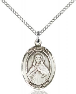 "Sterling Silver St. Olivia Pendant, SS Lite Curb Chain, Medium Size Catholic Medal, 3/4"" x 1/2"""