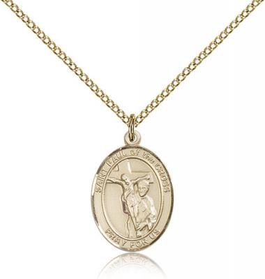 "Gold Filled St. Paul of the Cross Pendant, Gold Filled Lite Curb Chain, Medium Size Catholic Medal, 3/4"" x 1/2"""
