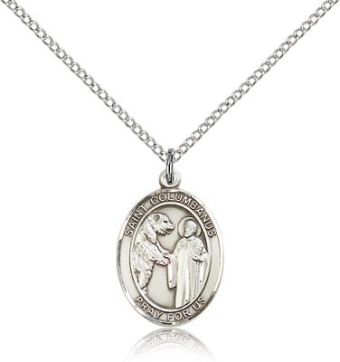"Sterling Silver St. Columbanus Pendant, Sterling Silver Lite Curb Chain, Medium Size Catholic Medal, 3/4"" x 1/2"""