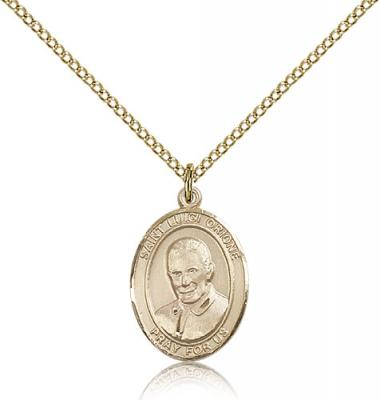 "Gold Filled St. Luigi Orione Pendant, Gold Filled Lite Curb Chain, Medium Size Catholic Medal, 3/4"" x 1/2"""