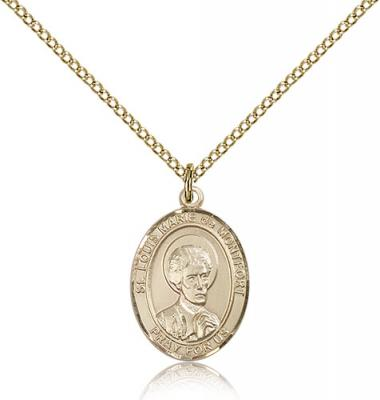 "Gold Filled St. Louis Marie De Montfort Pendant, Gold Filled Lite Curb Chain, Medium Size Catholic Medal, 3/4"" x 1/2"""