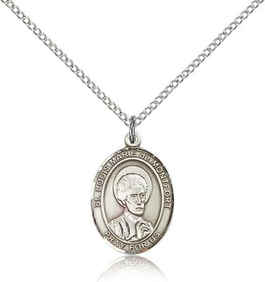 "Sterling Silver St. Louis Marie De Montfort Pendan, Sterling Silver Lite Curb Chain, Medium Size Catholic Medal, 3/4"" x 1/2"""