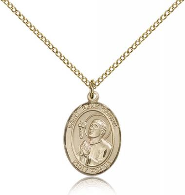 "Gold Filled St. Rene Goupil Pendant, Gold Filled Lite Curb Chain, Medium Size Catholic Medal, 3/4"" x 1/2"""