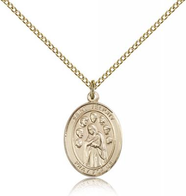 "Gold Filled St. Felicity Pendant, Gold Filled Lite Curb Chain, Medium Size Catholic Medal, 3/4"" x 1/2"""