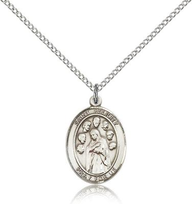 "Sterling Silver St. Felicity Pendant, Sterling Silver Lite Curb Chain, Medium Size Catholic Medal, 3/4"" x 1/2"""