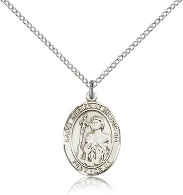 "Sterling Silver St. Adrian of Nicomedia Pendant, Sterling Silver Lite Curb Chain, Medium Size Catholic Medal, 3/4"" x 1/2"""