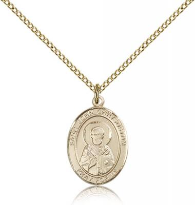 "Gold Filled St. John Chrysostom Pendant, Gold Filled Lite Curb Chain, Medium Size Catholic Medal, 3/4"" x 1/2"""